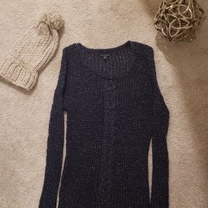 Navy and Silver Sweater Dress